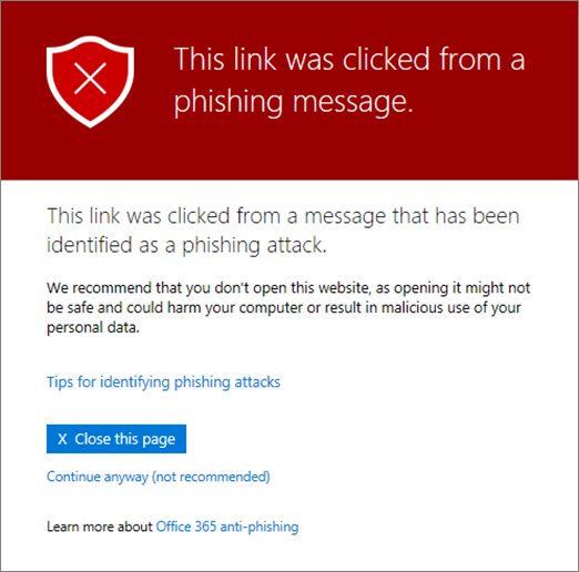 Safe Link Phishing email